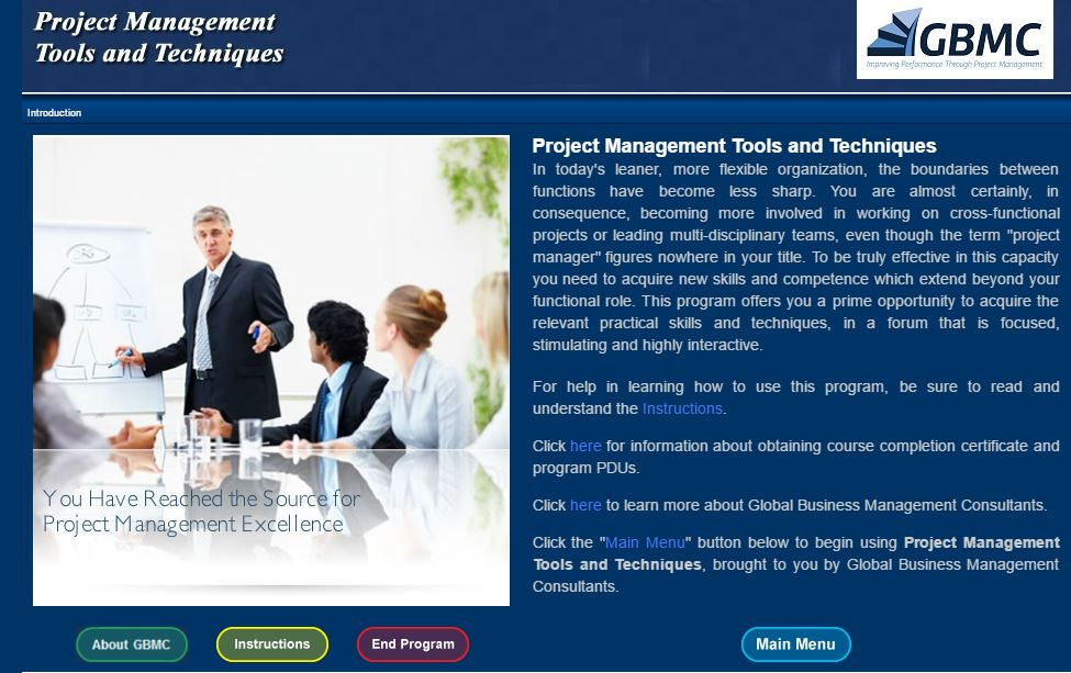 Gbmc E Learning Course Project Management Tools And Techniques Gbmc